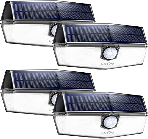 LITOM 120 LED Solar Lights Outdoor, upgraded Solar Panel with 3 Optional Modes and 270 Wide Angle, IP67 Waterproof, Portable Solar Powered Security Light 4 Pack