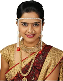 Buy Anuradha Art White Pearl Maharashtrian Mundavalya for
