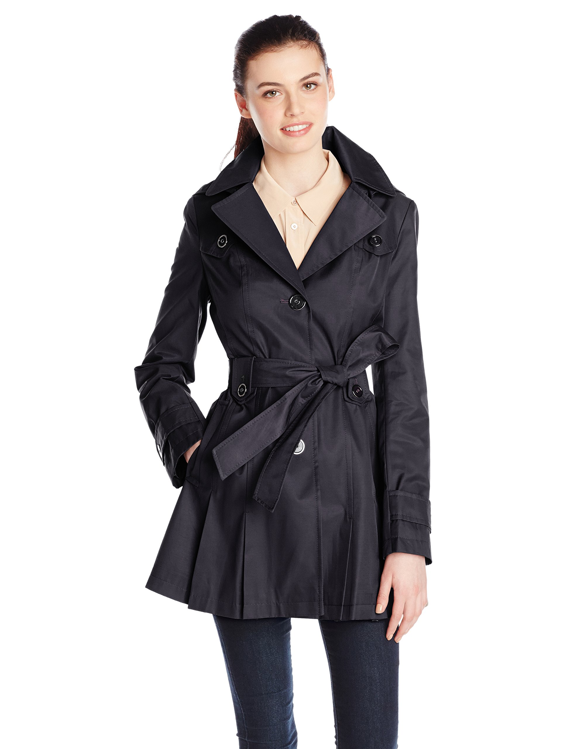 Via Spiga Women's Single-Breasted Belted Trench Coat with Hood, Navy, Medium