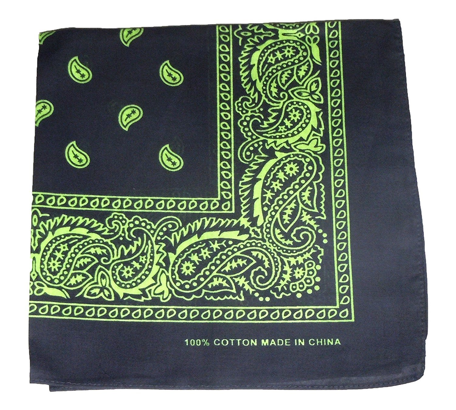 Bandanas By The Dozen 100% Cotton 12-Pack 22'' x 22'' - Paisley Black/Green
