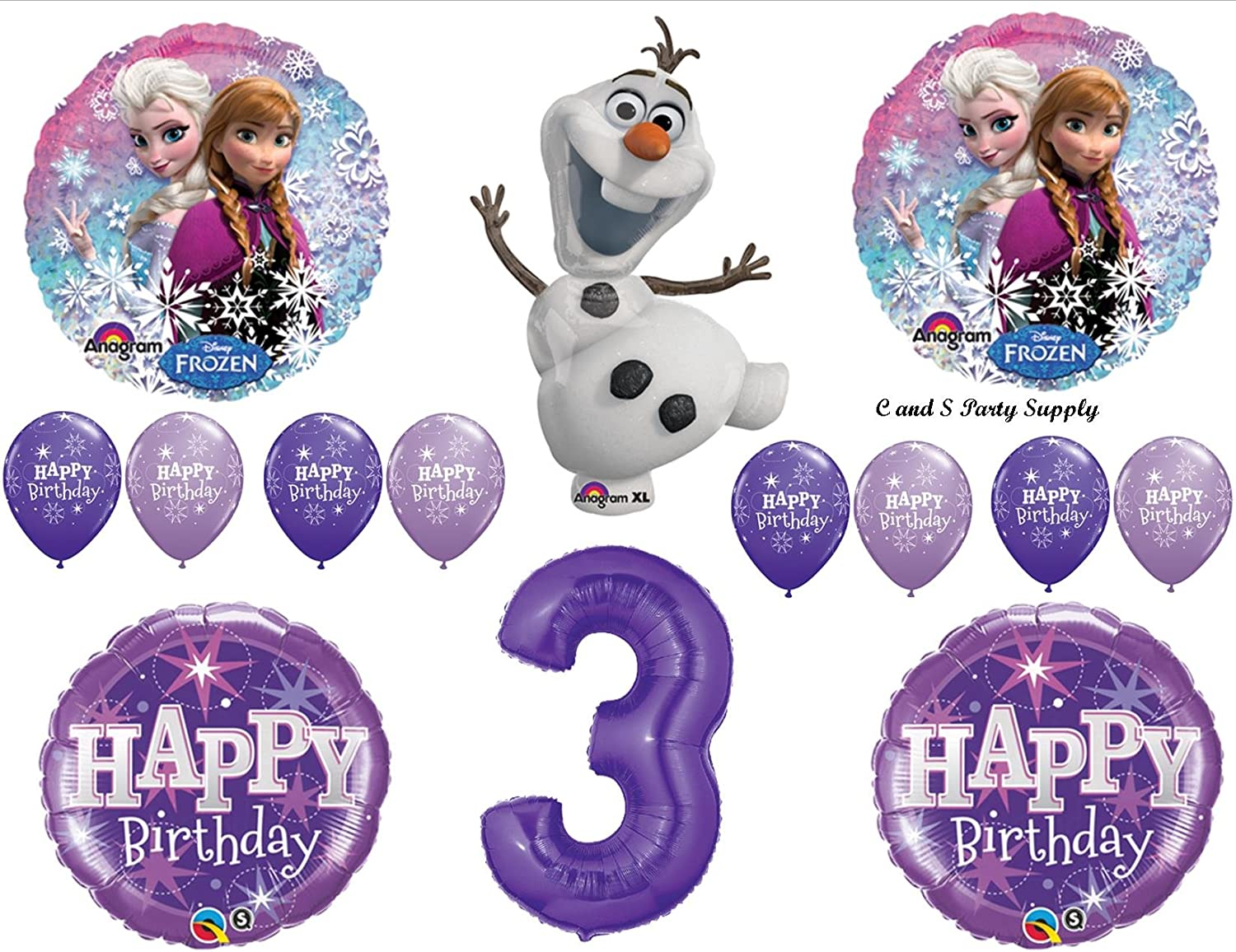 14pc FROZEN party BALLOONS new 3rd BIRTHDAY third PINK favors OLAF disney