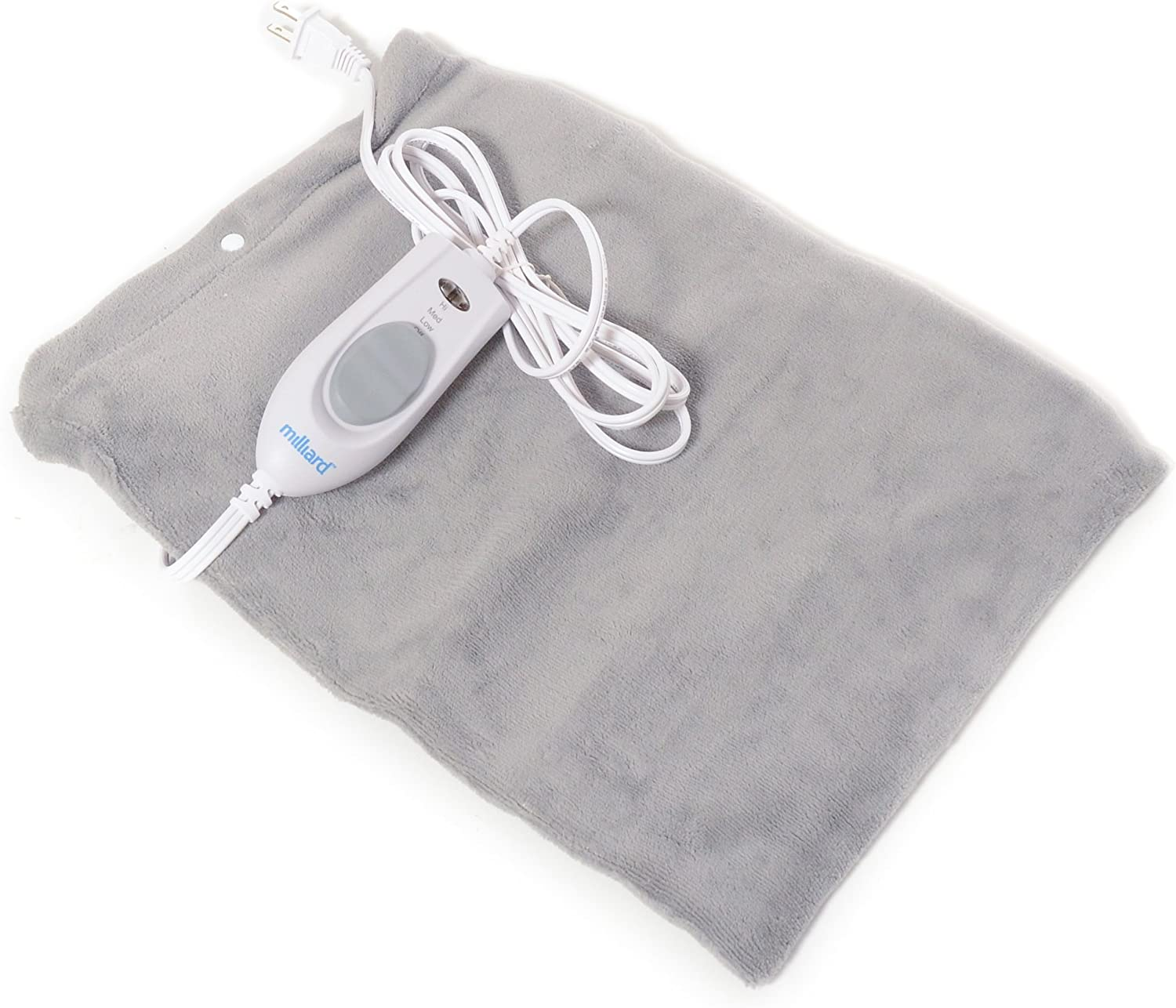 Milliard Electric Therapy Heating Pad for Fast Pain Relief - Gray - 15in x 12in: Health & Personal Care