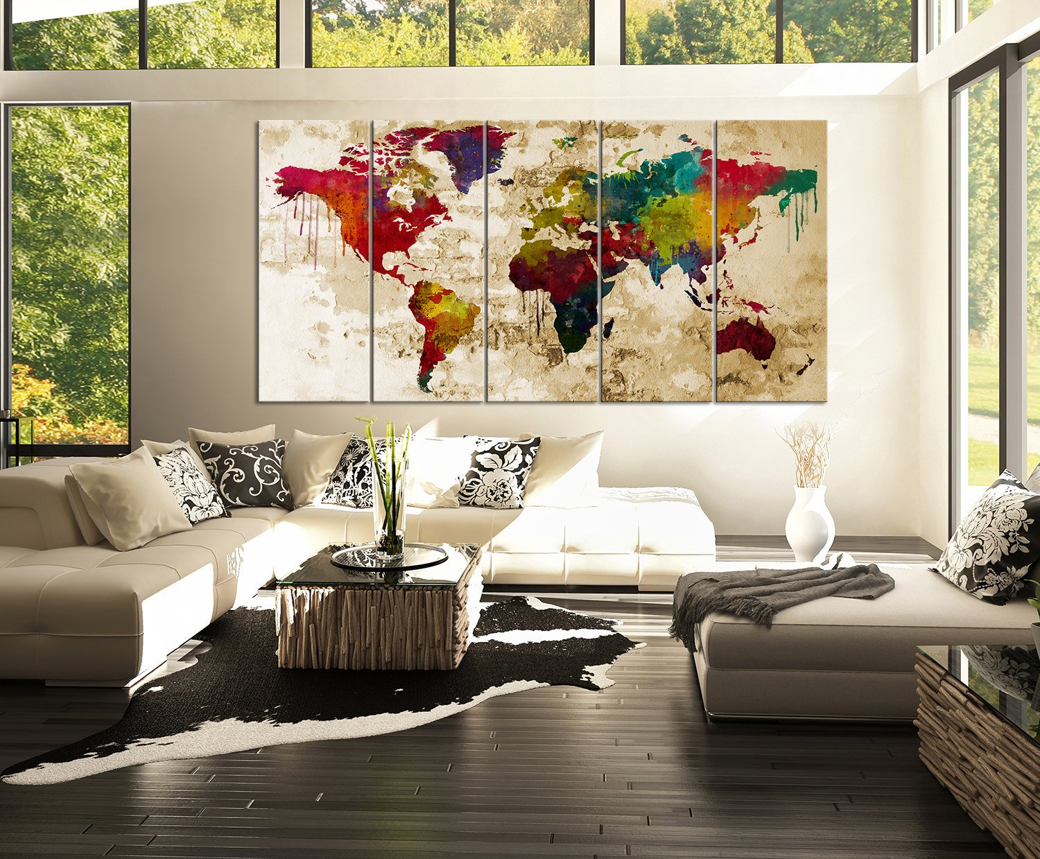 Amazon watercolor world map canvas print 5 panel colorful amazon watercolor world map canvas print 5 panel colorful abstract rainbow colors large wall art posters prints gumiabroncs Images