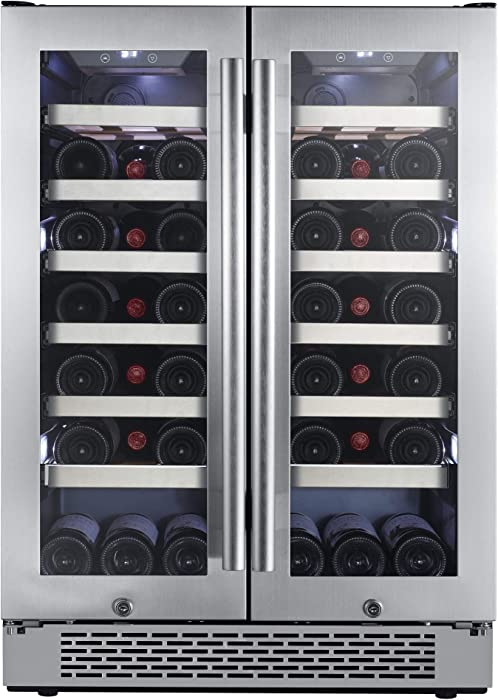 """Avallon AWC241FD 42 Bottle 24"""" Dual Zone French Door Built-In Wine Cooler"""