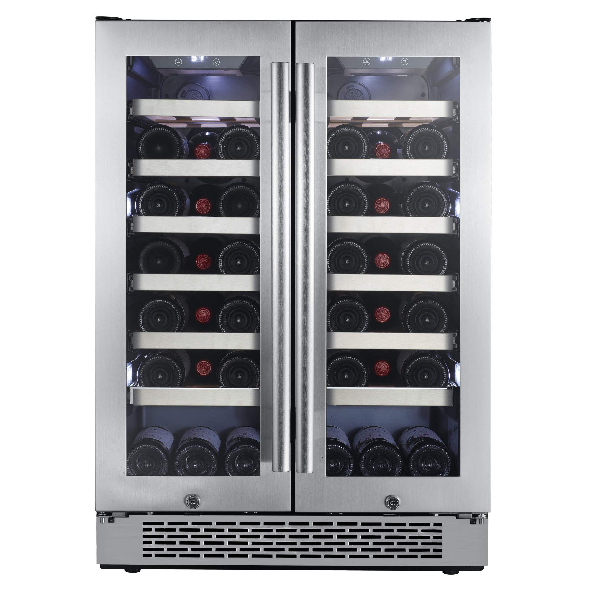 Avallon AWC241FD 42 Bottle 24'' Dual Zone French Door Built-In Wine Cooler by Avallon
