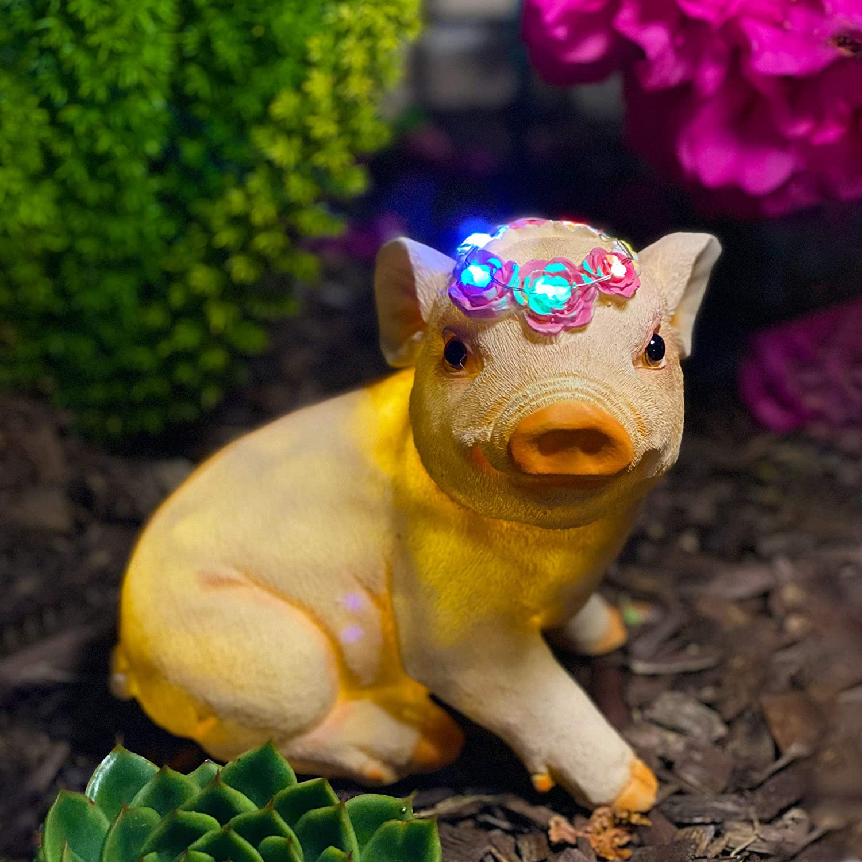SASA Inc Solar Garden Animal Friend Garden Statue, Hand-Painted Resin Garden Creature with LED Lights (Pig)