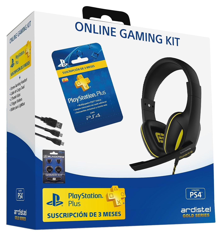 Ardistel - Online Gaming Kit Dual A3 (PS4) - Gaming Headset estéreo con micrófono, conexión al mando DualShock4 + Tarjeta de suscripción PSPlus de 90 días + ...