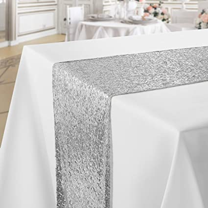 Beautiful life Tablecloth fabric double face structure Lurex silver glossy square in various sizes table cloth Size: 130 x 260 cm