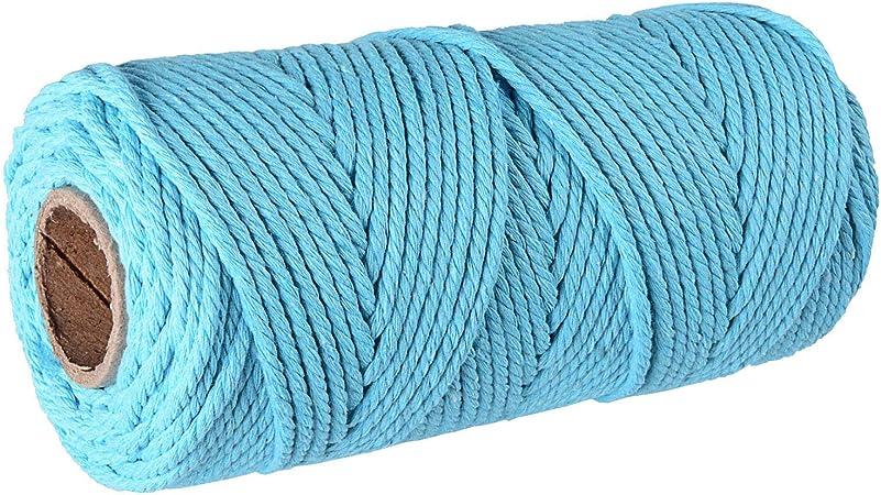 SUNTQ Cordón de macramé Algodón de poliéster trenzado de 4 hilos 3mm x 100m Cuerda de algodón suave para colgar plantas artesanales Colgar artesanías, decoración de tejer, hilo de algodón lago azul: