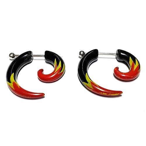 Cameleon-Shop-Pendientes de falsos Plug-Dilatador acrílico y acero inoxidable, color negro, diseño de llama, color rojo y verde, 5 mm: Amazon.es: Joyería
