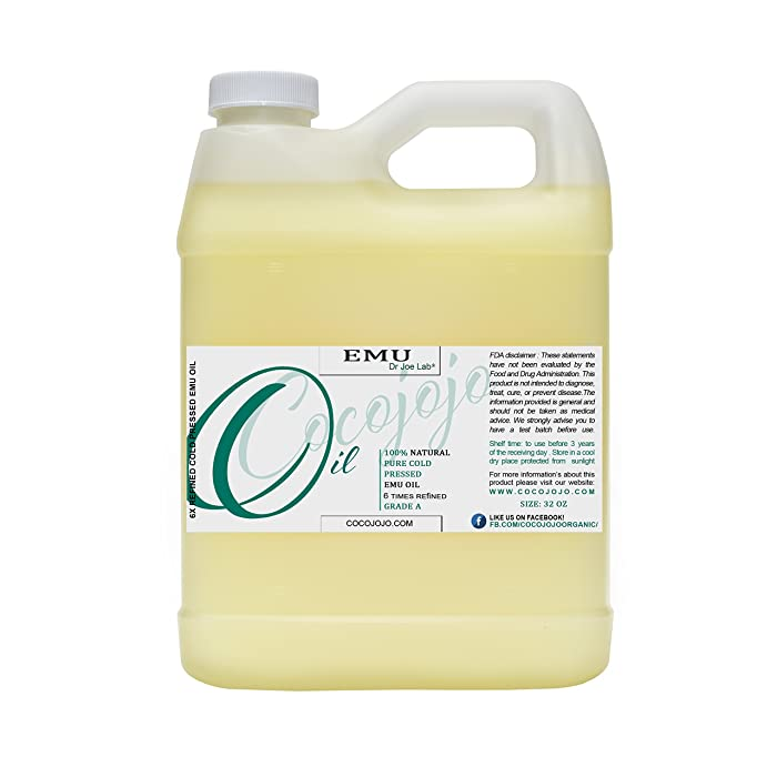 Emu Oil 32 oz 100% Pure Natural 6 Times Refined - Therapeutic Grade A for Hair Skin Body