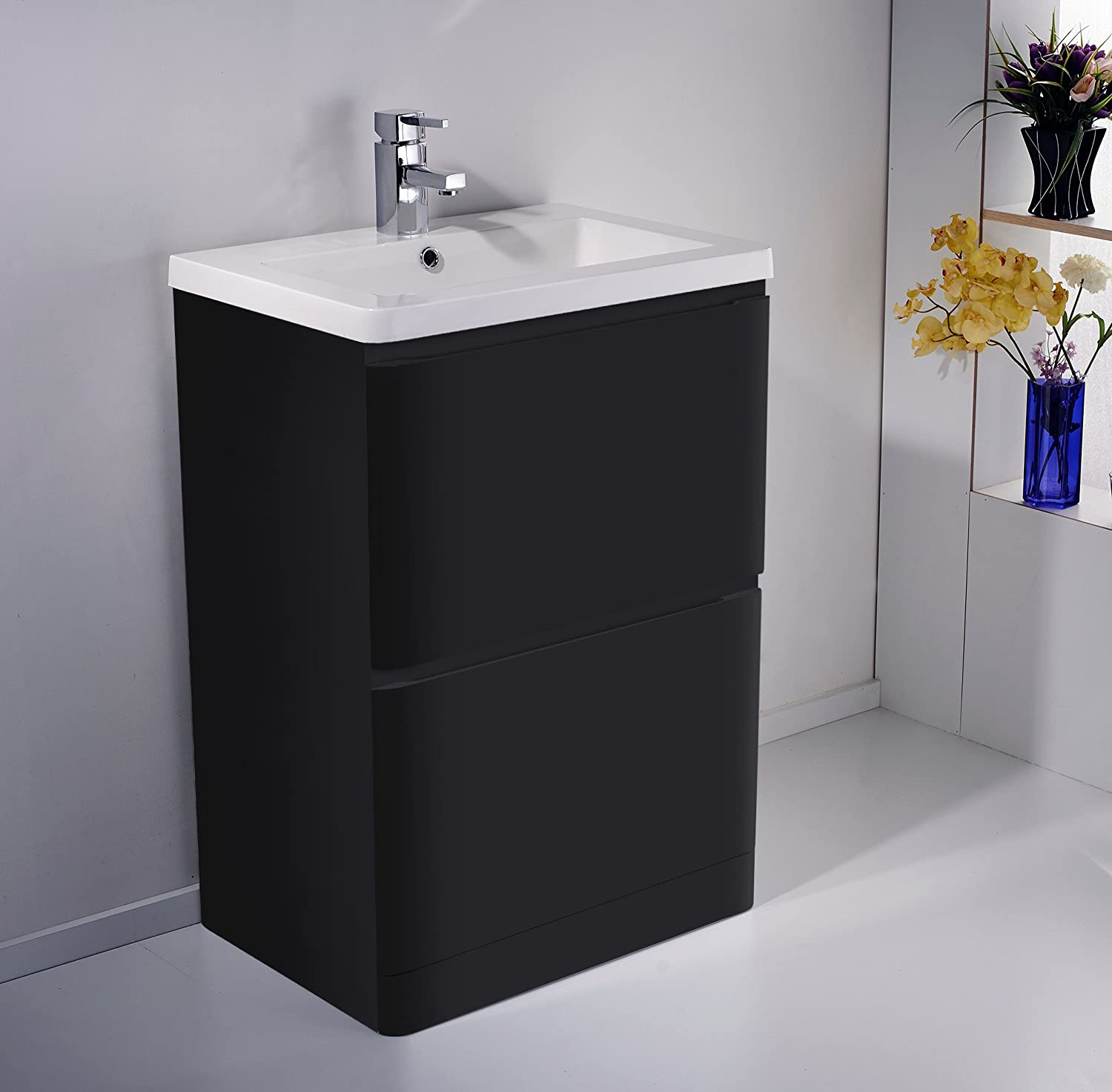 floor standing mdf black gloss bathroom vanity unit 2 drawer amazoncouk kitchen home