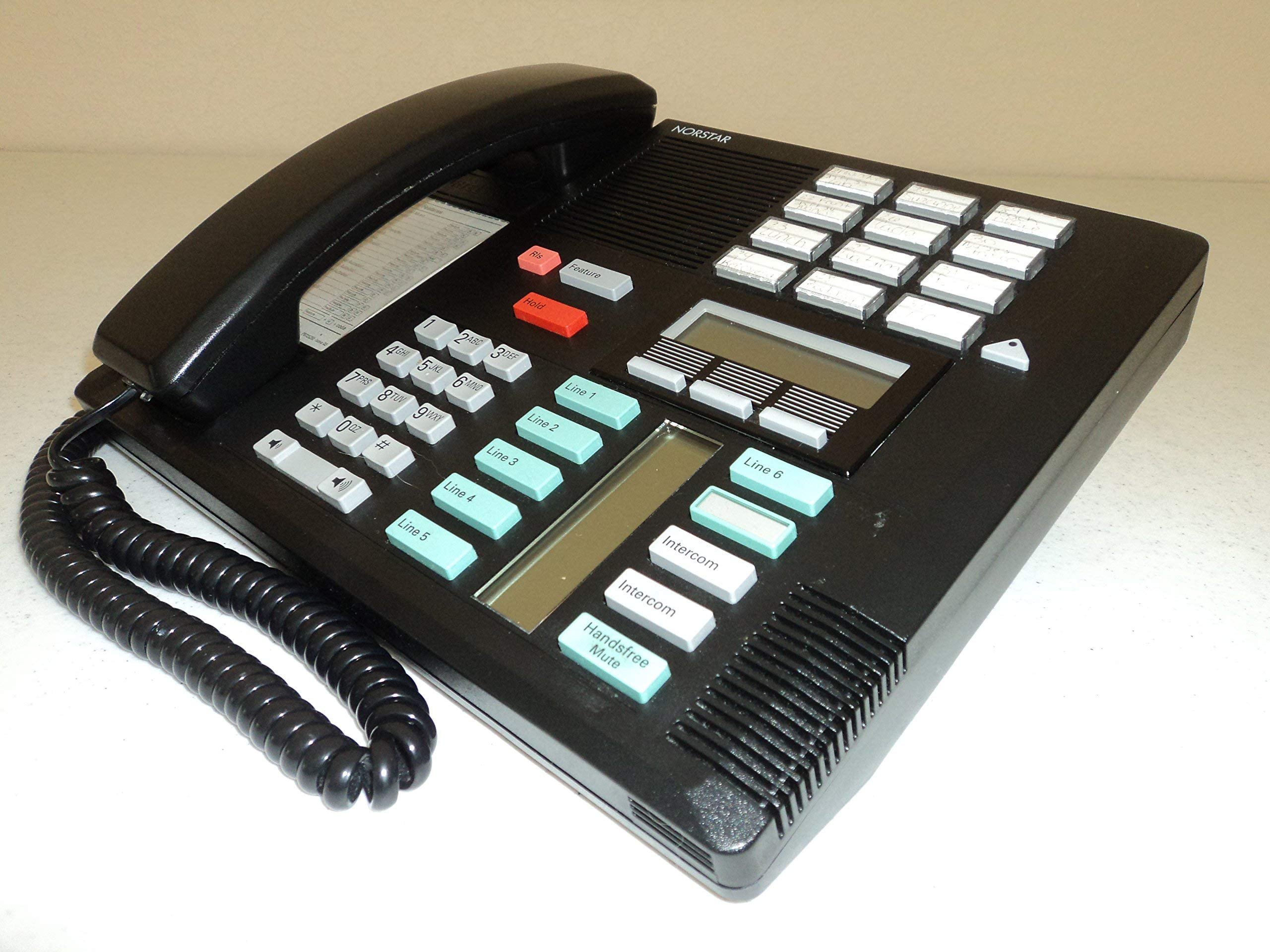 Nortel/Meridian M7310 PBX Black 4-7 Line Telephone with Speaker (Norstar NT8B20) (Renewed) by Norstar