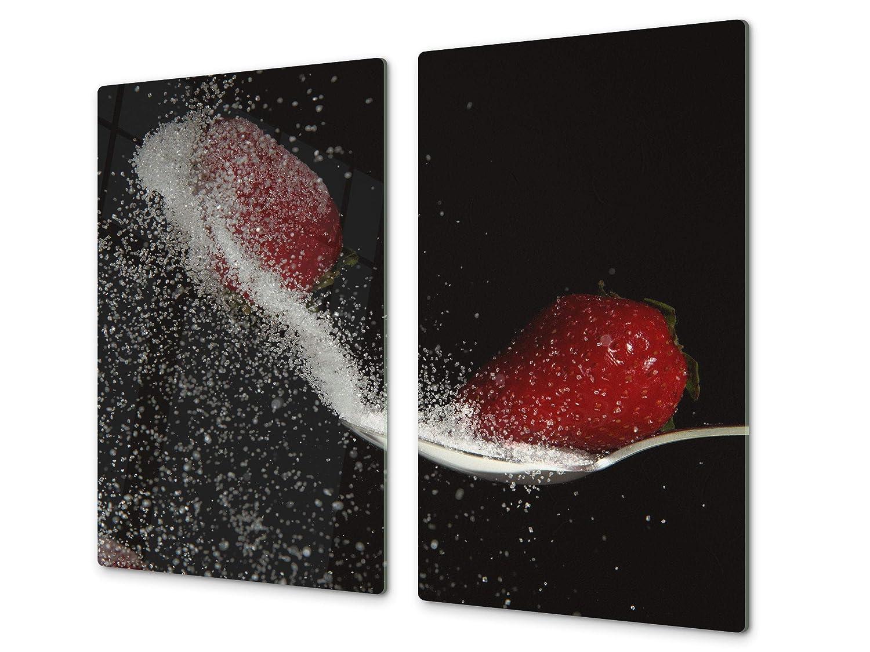 Tabla de cocina de vidrio templado - Tabla de cortar de cristal resistente – Cubre Vitro Decorativo – UNA PIEZA (60 x 52 cm) o DOS PIEZAS (30 x 52 cm); D07 Frutas y verduras: Aceituna 2 Concept Crystal