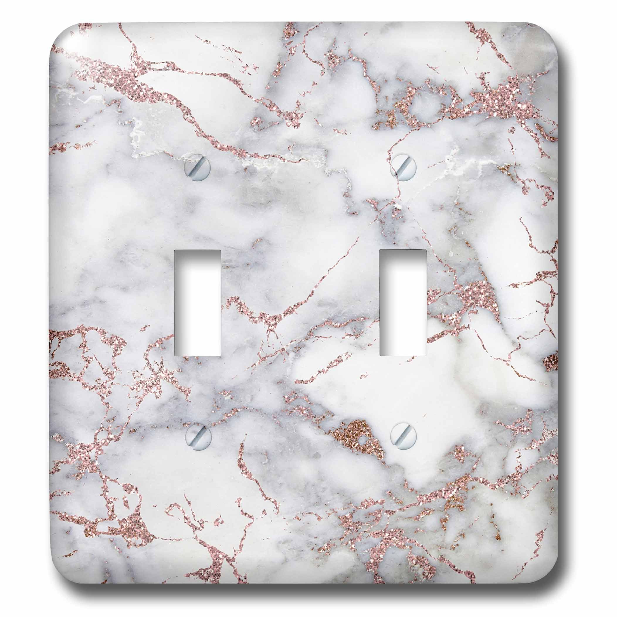3dRose LSP_275086_2 Image of Shiny Luxury Trendy Rose Gold Glitter Marble Agate Quartz Toggle Switch,