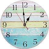Asvert Orologio da parete Colorato in Legno d'epoca Strisce Colorate Stile Rustico