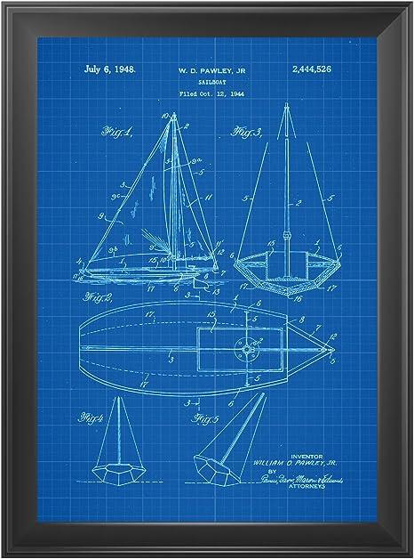 Nacnic Azul - Pack de 4 Láminas con Patentes de Barcos. Set de ...