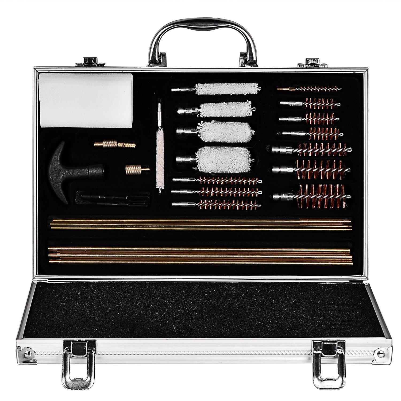 CVLIFE 28pcs Universal Gun Rifle and Shot Gun Cleaning Kit with Aluminum Carrying Case