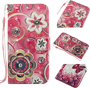 iPod Touch 5 Case, Touch 6 Case, Candy House [3D Bling Wallet Case] Flower Vine Design PU Leather Phone Case with Card Holder Stand Magnetic Closure Flip Cover for iPod Touch 5th/6th