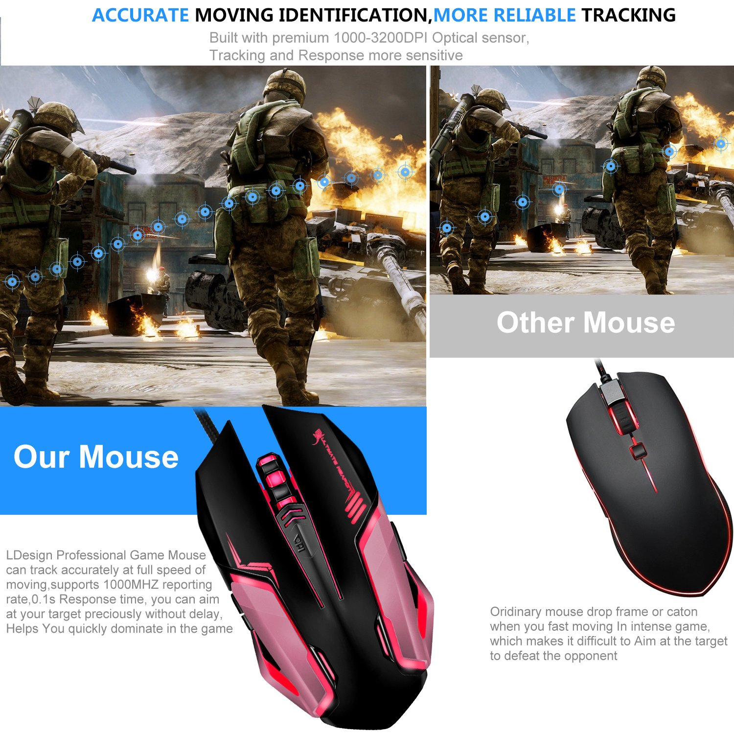 Gaming Mouse, LDesign 3200DPI Wired Gamer Mice ACC Optical Ergonomic with 4 Adjustable DPI Switch, 7-Color Breathing Light, High Accuracy Computer Mice Plug and Play (Black/Pink)
