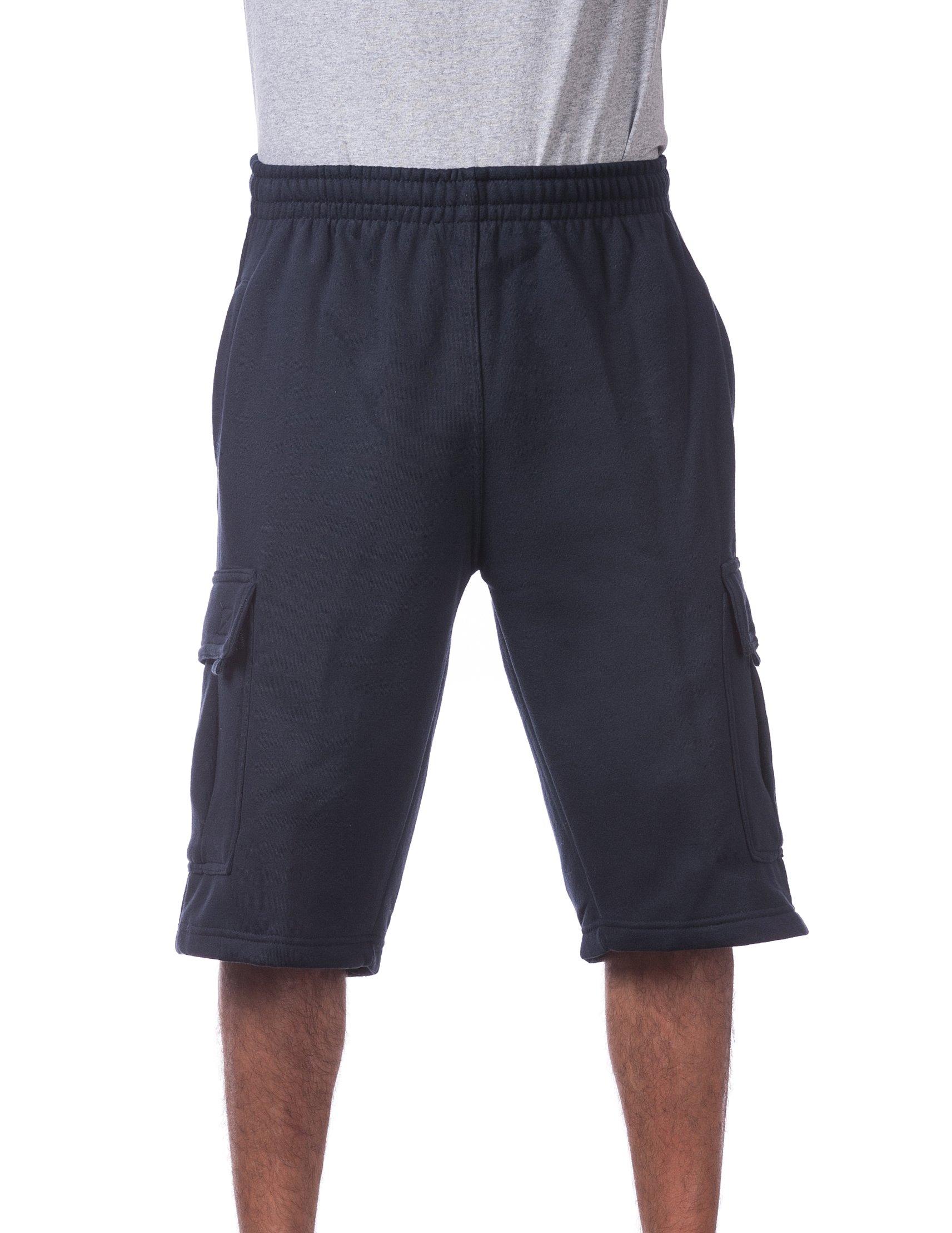 Pro Club Men's Fleece Cargo Short, Navy, 7X-Large
