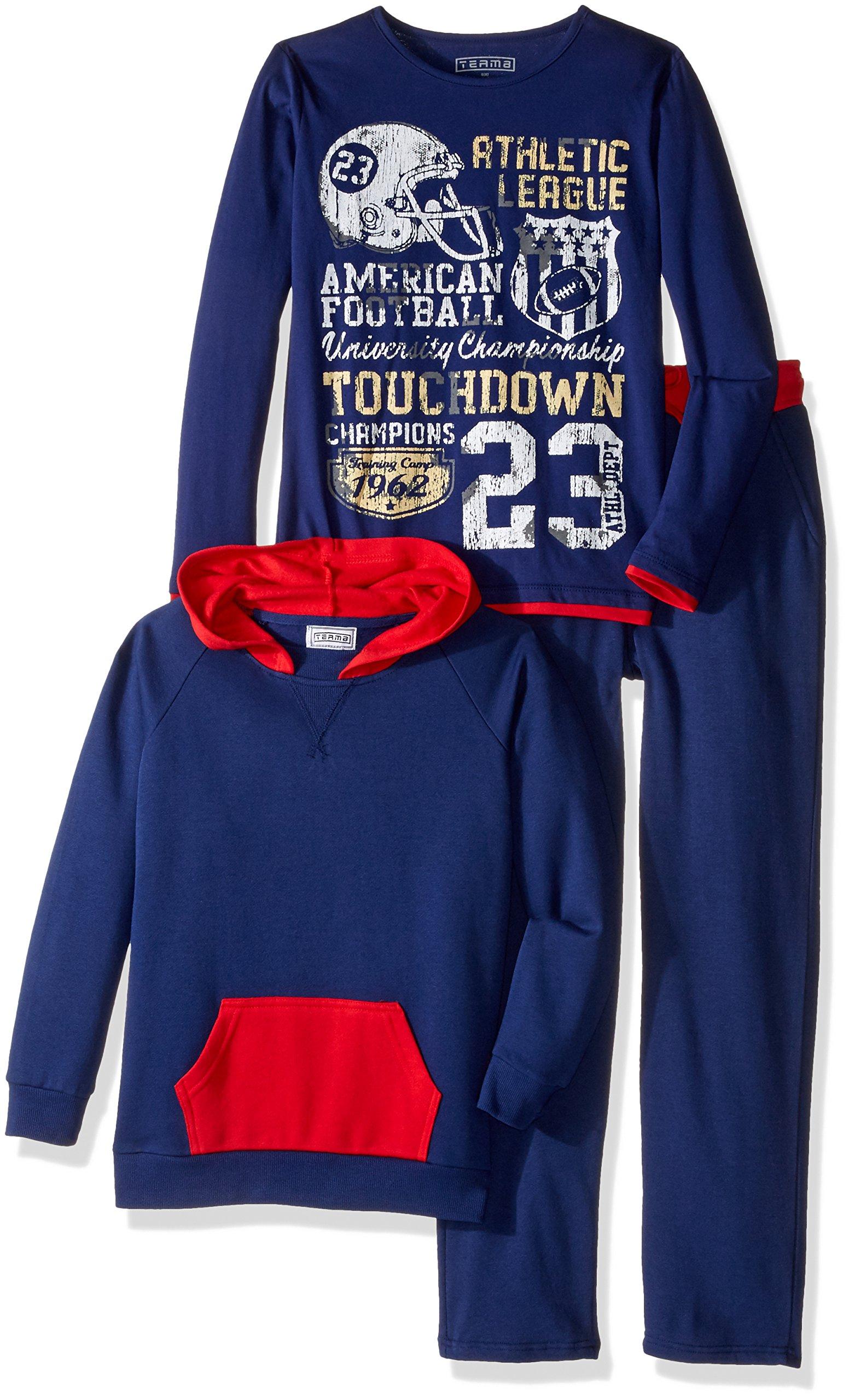 Team8 Little Boys' Fleece Color Blocked Hoodie, Blue Combo, Large/6