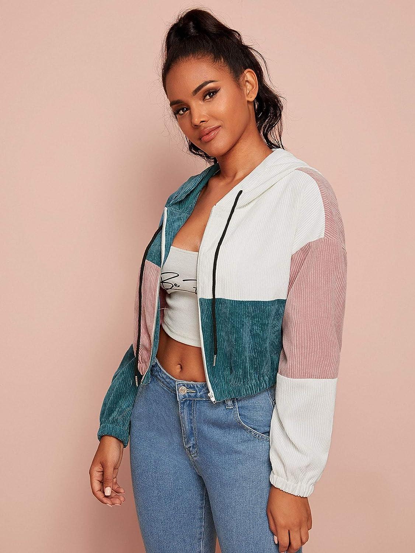 SweatyRocks Womens Long Sleeve Color Block Zip Up Corduroy Hooded Crop Top Jacket Coat