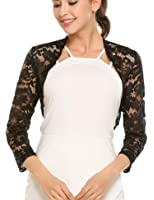 Meaneor Women Floral Lace Shrug long Sleeve Front Open Bolero Blouse Crop Top