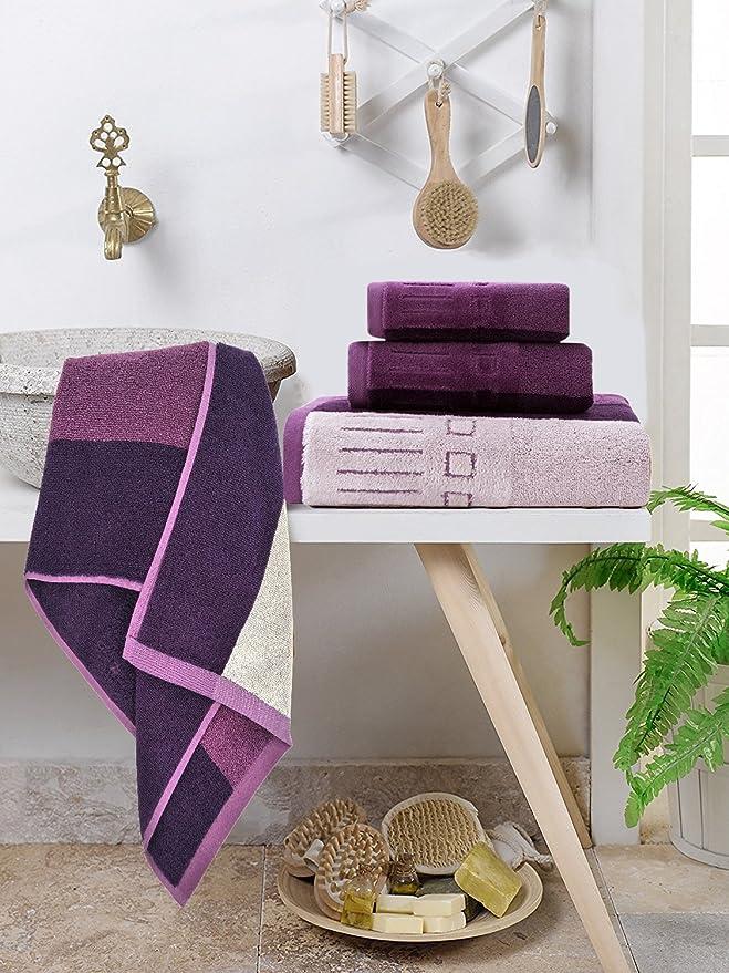 YNester - 3 toallas de 100% algodón de rayas naturales ecológicas de lujo Juego de, super suave toallas de baño absorbentes, toallas de mano, ...