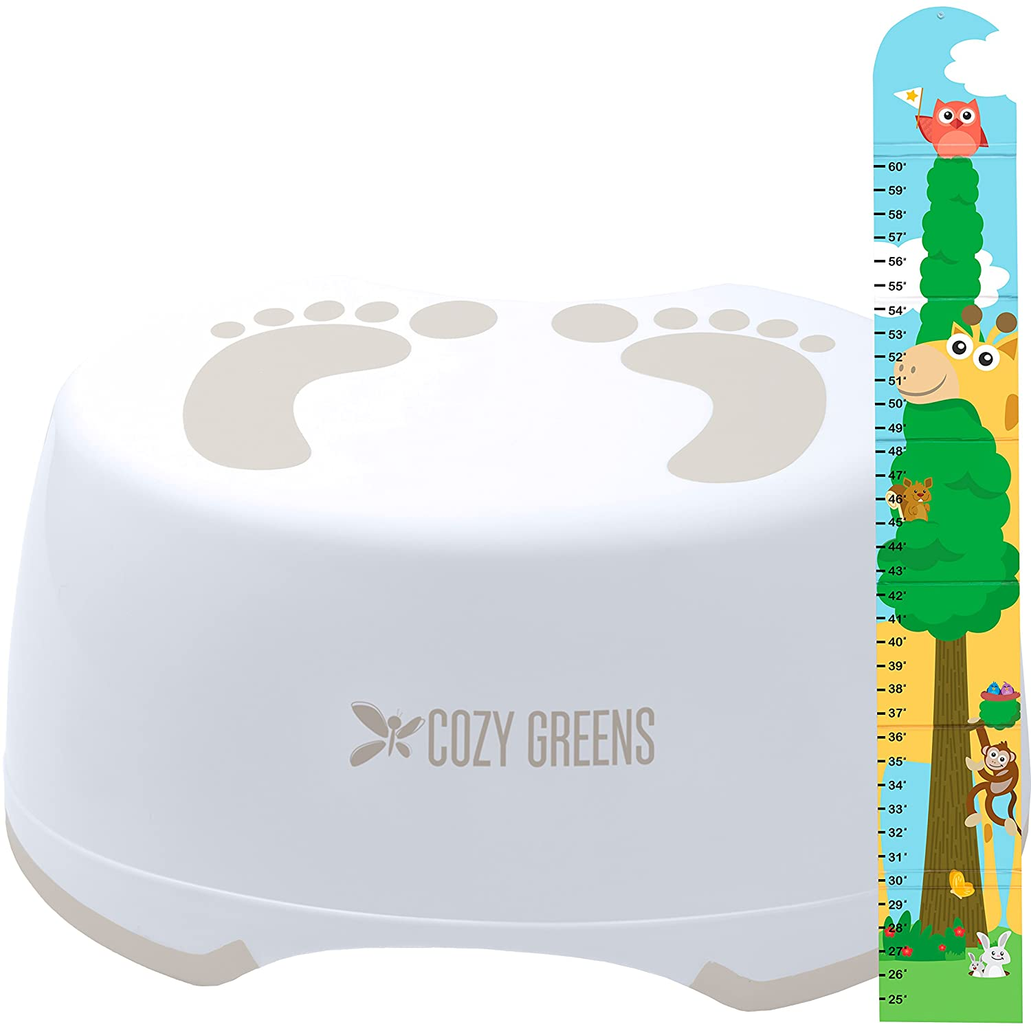 Step Stool for Children | Anti-Slip Top and Bottom | Easy Hygienic Cleaning | FREE Potty Training eBook | Perfect height for Toddler Toilet Training or Kids Bathroom and Kitchen (green) COZY GREENS NA