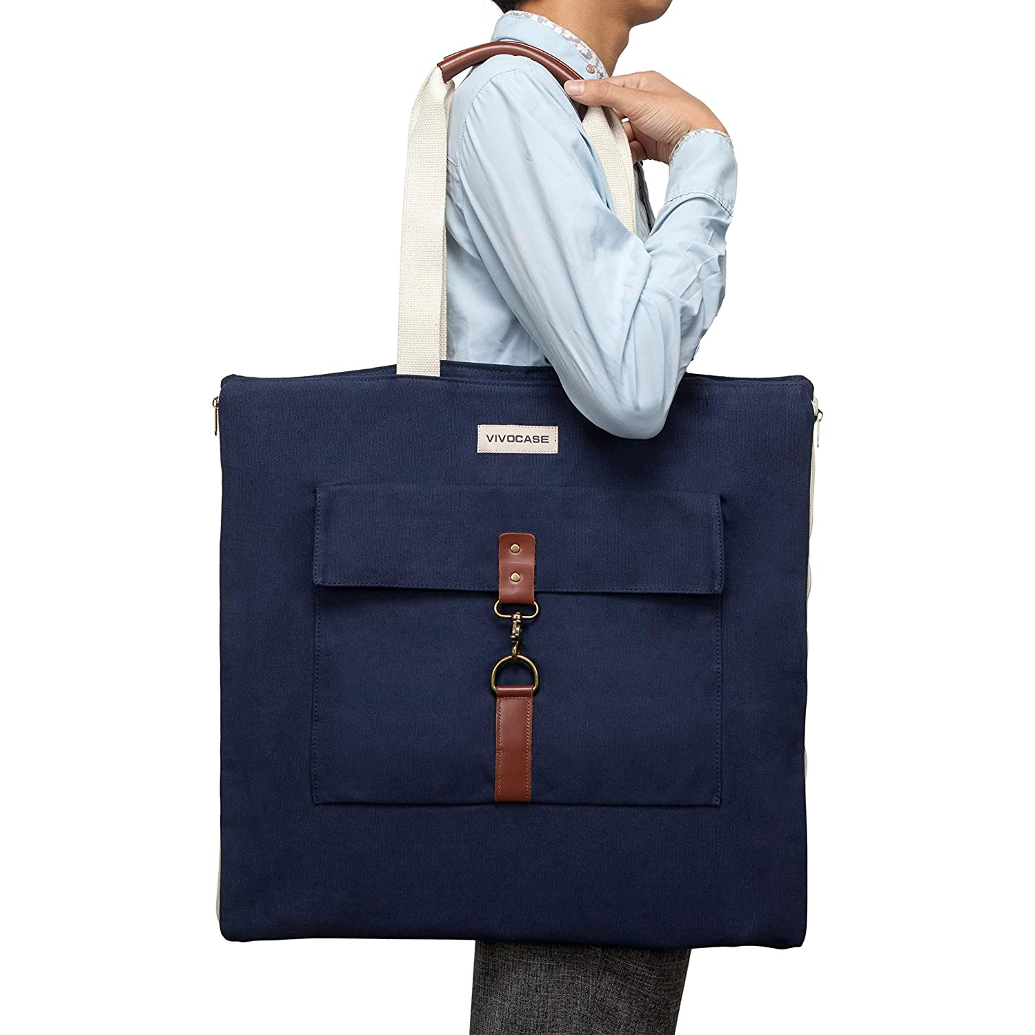 a59098a2ed21 VIVOCASE Premium Canvas Versatile Suit Carry On Garment Bag for Business  and Travel (Blue)