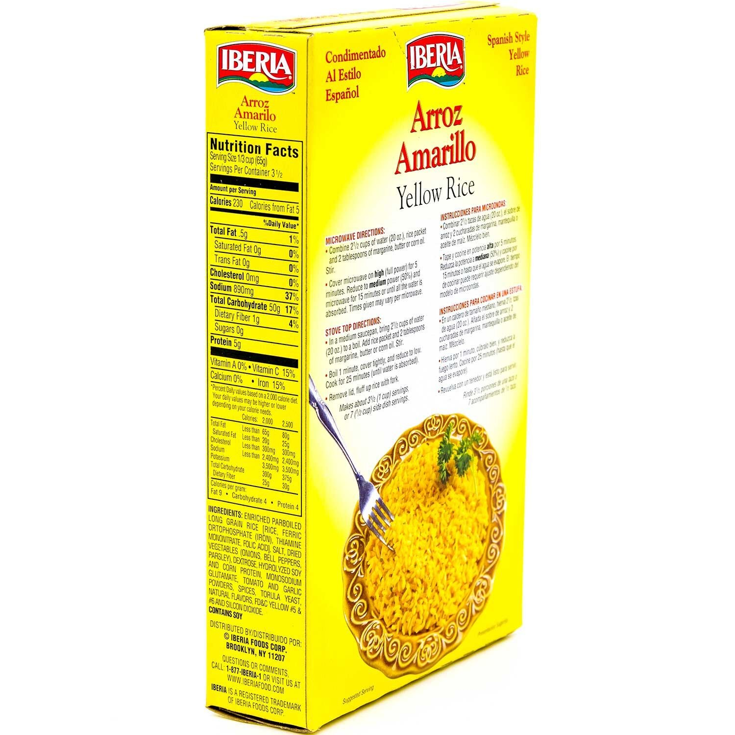 Amazon.com : Iberia Yellow Rice 8 oz, Spanish Style Seasoned Yellow Rice, Enriched Parboiled Long Grain Seasoned Rice, Microwaveable, Kosher (Pack of 12) ...