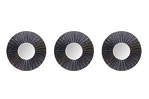 Hosley Set of 3 Decorative Black Decorative Wall Mirror (Round)