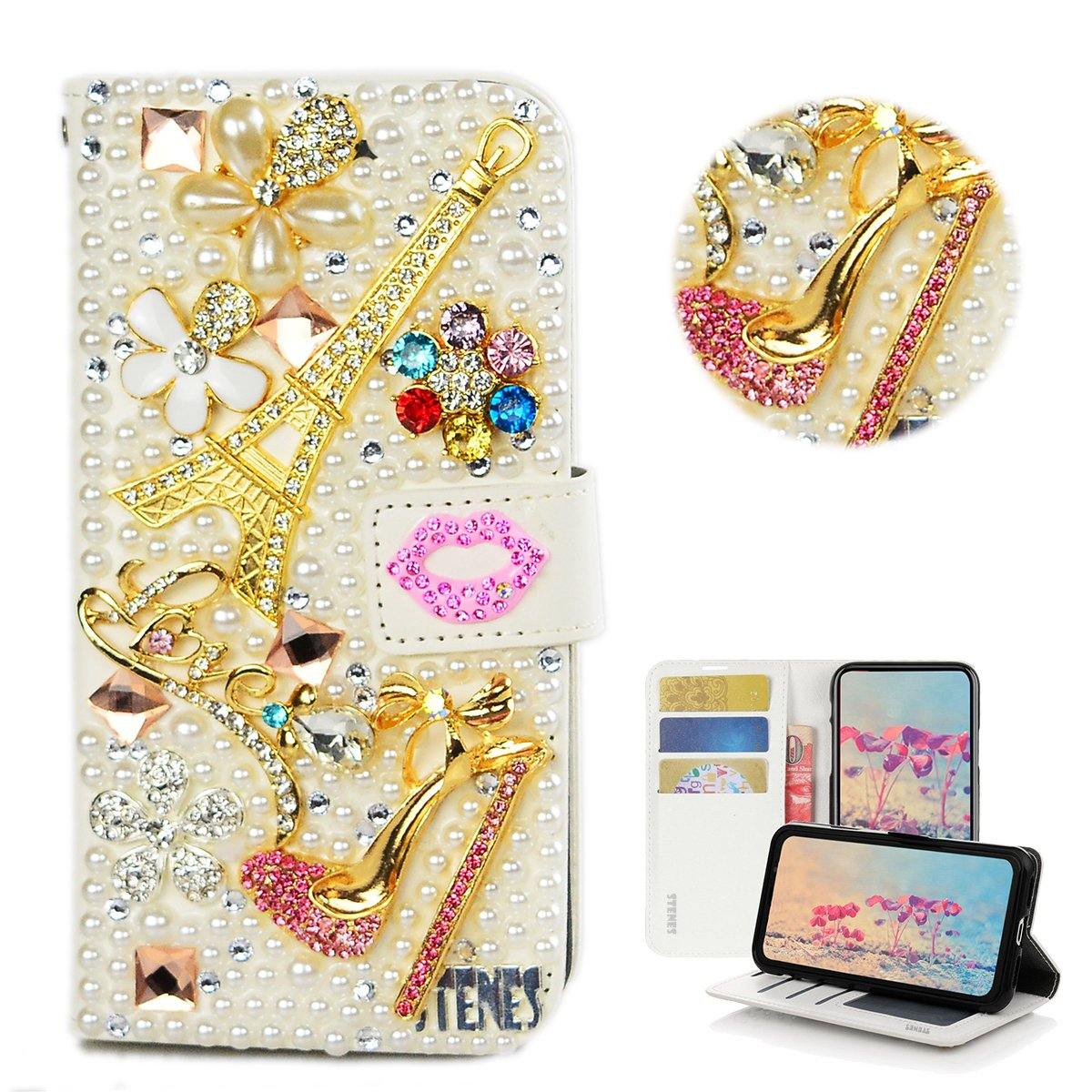 STENES Galaxy S9 Case - Stylish - 3D Handmade Crystal Eiffel Tower Girls High Heel Flowers Lips Wallet Credit Card Slots Fold Stand Leather Cover for Samsung Galaxy S9 - Pink
