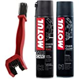 Motul Combo of C2 Chain Lube and C1 Chain Clean (400 ml) with GrandPitstop Bike Chain Cleaning Brush Red