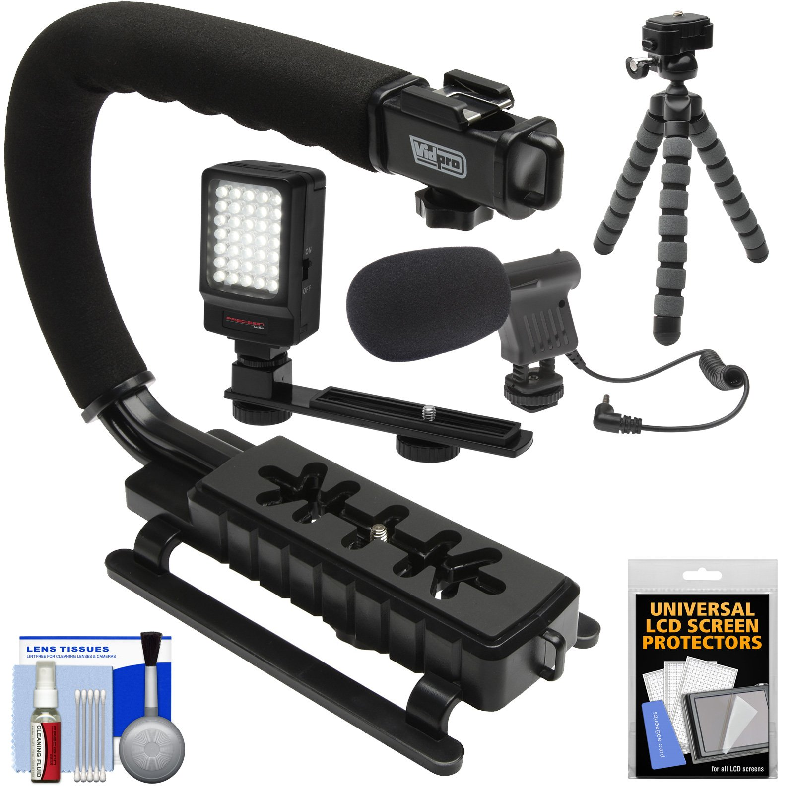 Vidpro VB-12 Stabilizer Hand Grip for DSLR Cameras, Video Camcorders & Action Cameras with Microphone + Flex Tripod + Kit by VidPro