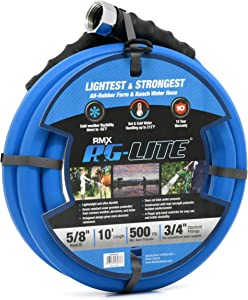 "BluBird AG-Lite Rubber Hot & Cold Water Rubber Garden Hose: Ultra-Light & Super Strong(5/8"" x 10')- BSAL5810"