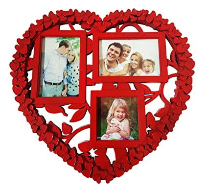 Buy Fully Heart Shape Collage Wall Hanging Photo Frame Red 40