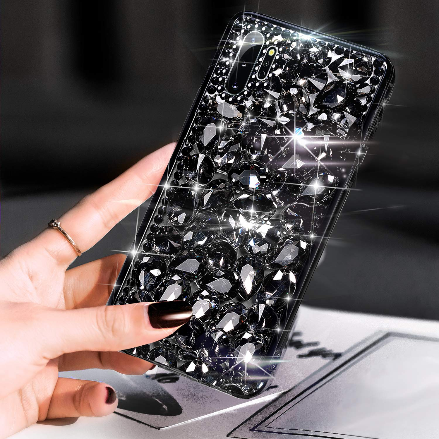 Case for Galaxy Note 10 Plus,Galaxy Note 10 Plus Diamond Case,3D Handmade Bling Rhinestone Diamonds Sparkle Rhinestones Girls Women Full Crystals Bling Diamond Case Cover for Galaxy Note 10 Plus,Black by ikasus
