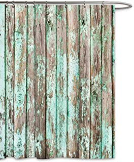 FOOG Barn Wood Shower Curtain Vintage Green Country Wooden Textured Planks Panels Grain Cottage Lodge Hardwood