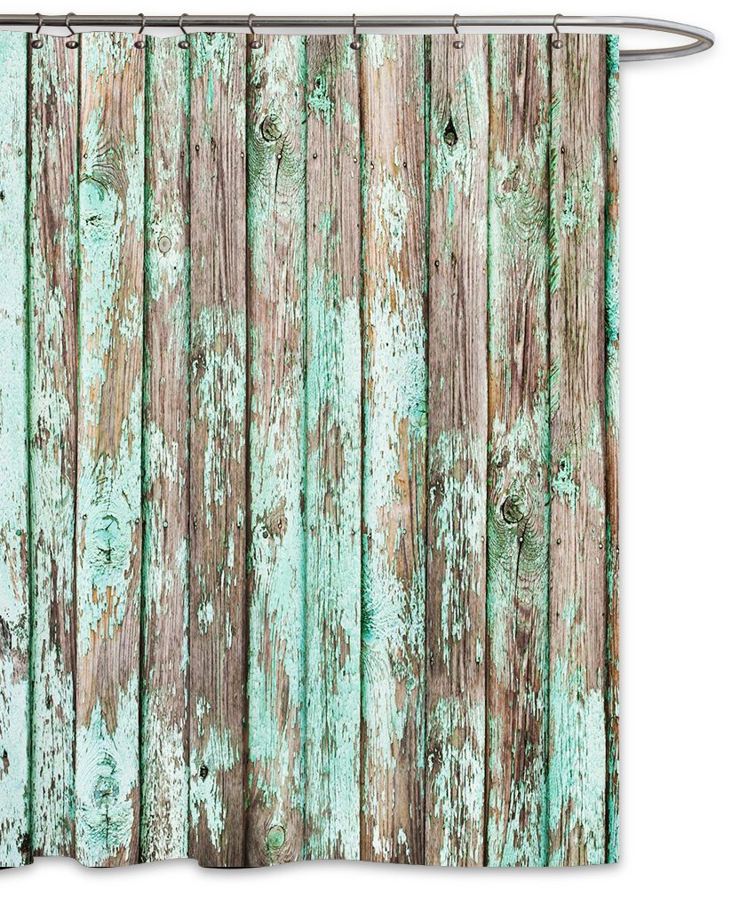 FOOG Barn Wood Shower Curtain Vintage Green Country Wooden Textured Planks Panels Grain Cottage Lodge Hardwood Pattern Polyester Fabric Mildew Resistant -Turquoise Gray (70'' Wx70 L)