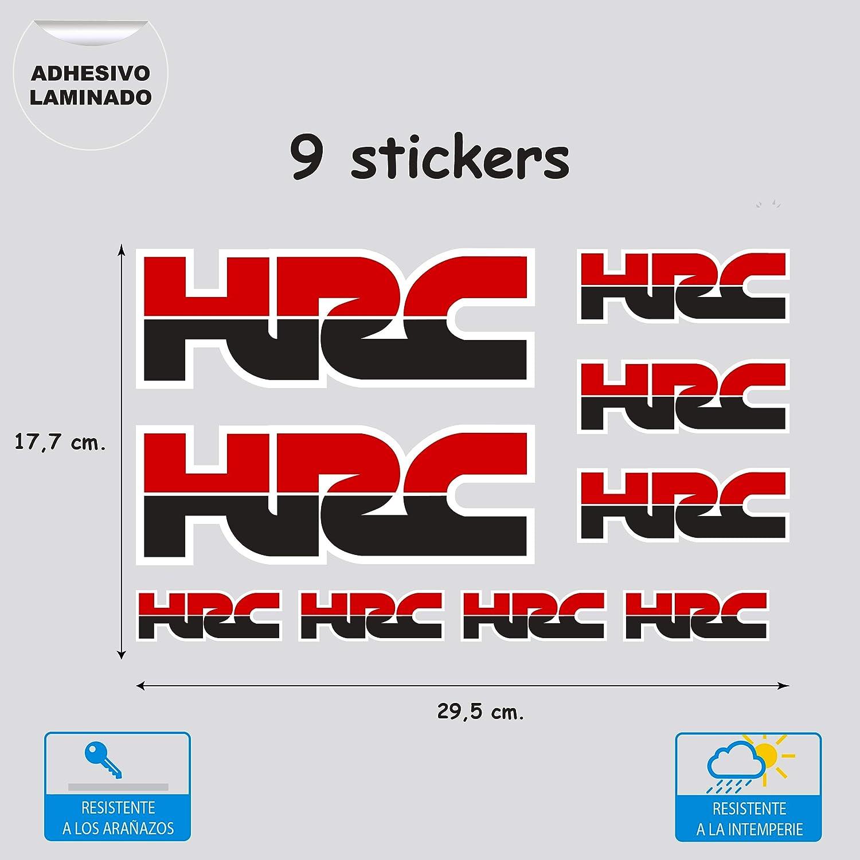 9 Aufkleber Aus Vinyl Digitaldruck Laminiert Kompatibel Mit Honda Hrc Rot Schwarz 9 Aufkleber Küche Haushalt