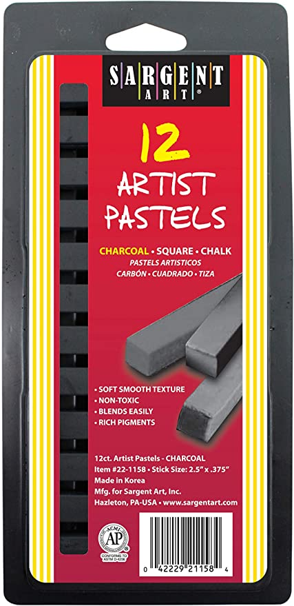 Multicultural and Earthtones Sargent Art 22-4113 Square Chalk Pastels 12 Count