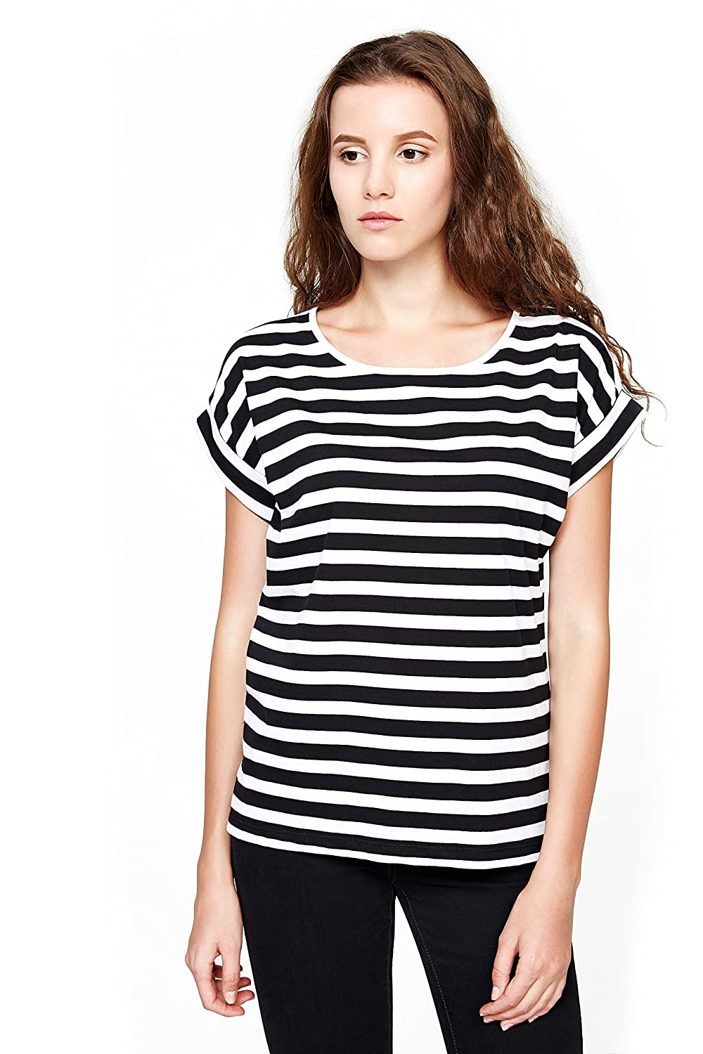 8457b495a5ad YOUMECLO Women Round Neck Casual Loose Striped Shirt Black and White Cotton Short  Sleeve Tee Blouse at Amazon Women s Clothing store