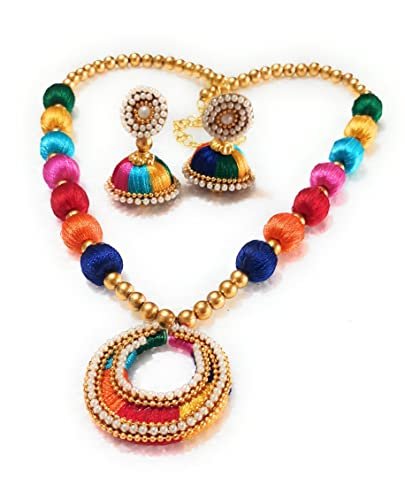 25e29709fcbf7a GO FOR IT Multicolour Silk Thread Necklace with Matching Earrings for Women