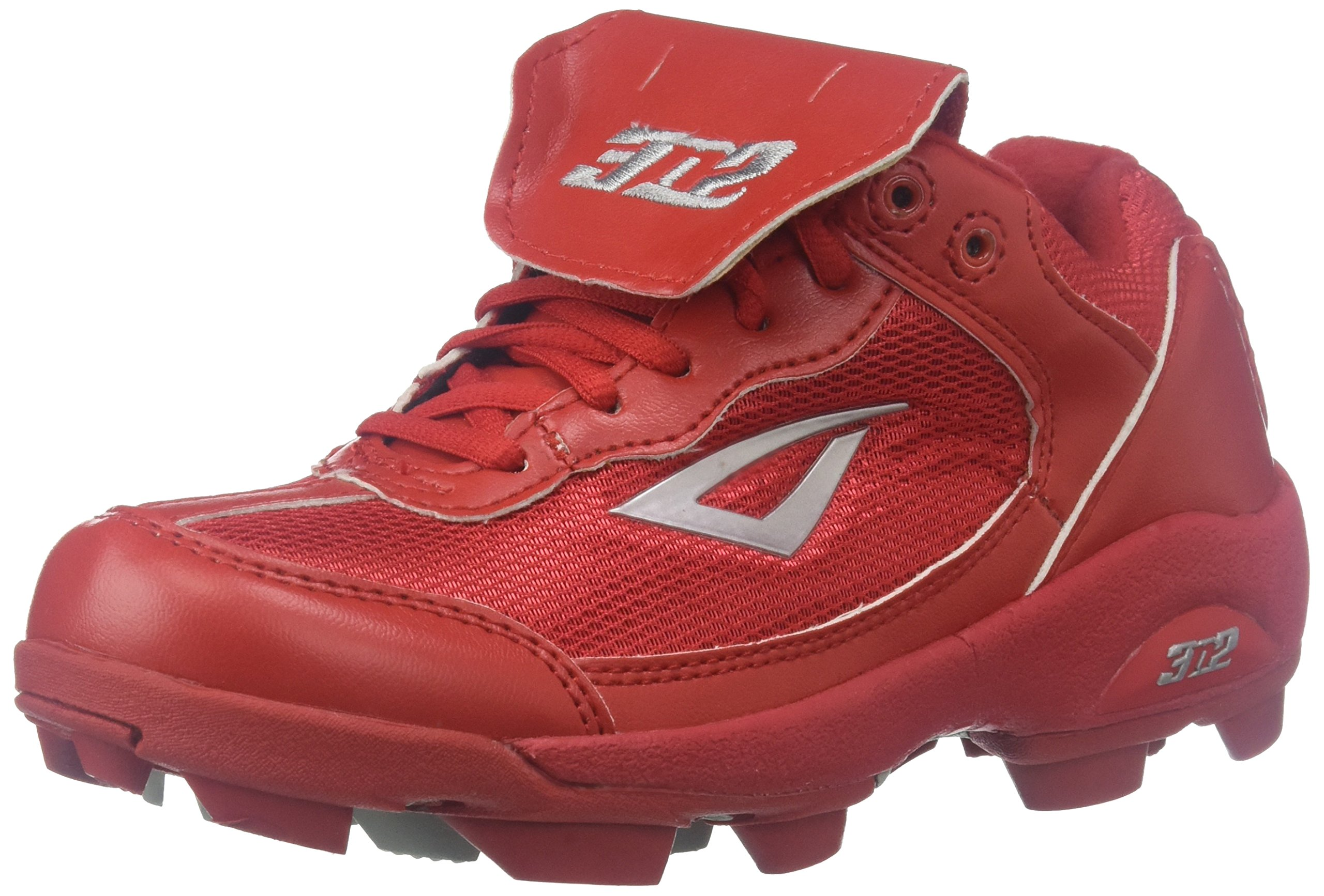 3N2 Youth Rookie Shoes, Red/Silver, Size 2.5 by 3N2
