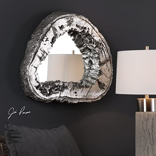 Luxe Rustic Modern Tree Trunk Wall Mirror | Silver Abstract