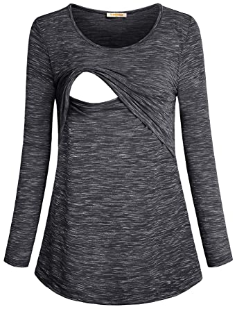582b8d11c0f8a Baikea Women s Loose Comfy Layered Nursing Top and Shirts for Breastfeeding  Black M