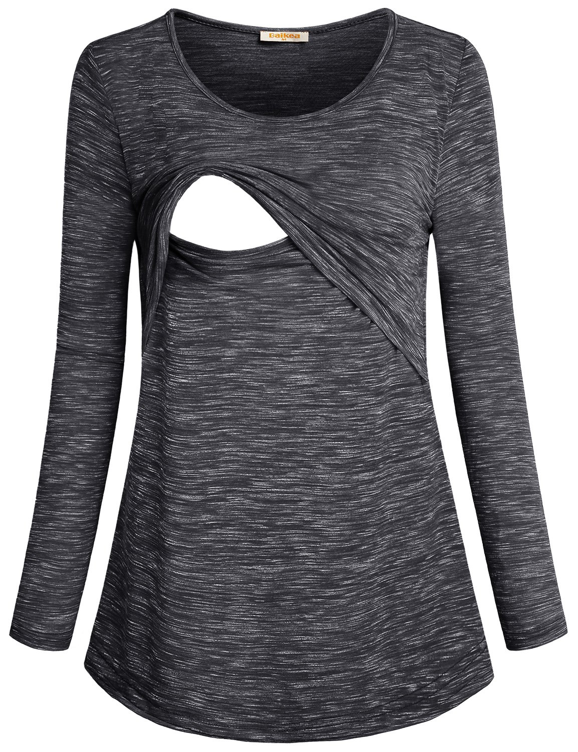 Baikea Women's Loose Comfy Layered Nursing Top and Shirts for Breastfeeding Black XL