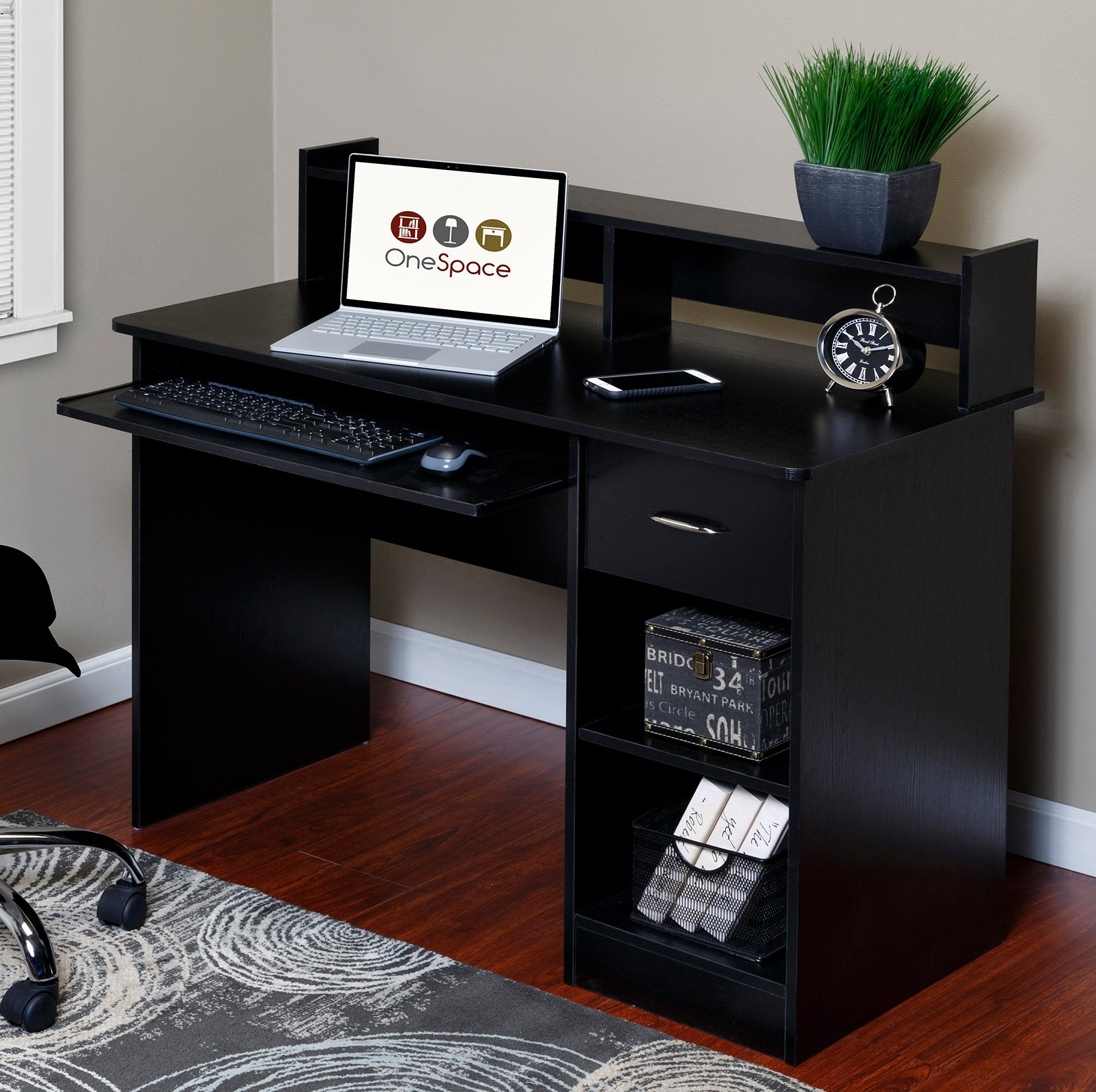 OneSpace 50-LD0105 Essential Computer Desk, Hutch with Pull-Out Keyboard, Black